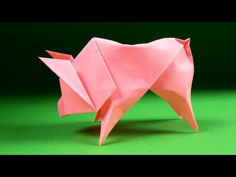 How to Make a Paper Animals - Origami Pig. Symbol 2019