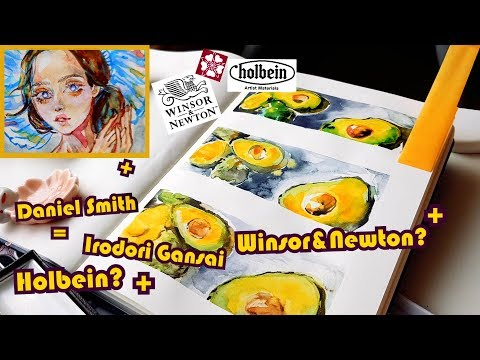🥑Testing out Holbein - Winsor & Newton - Daniel Smith Watercolor   +bonus drawings