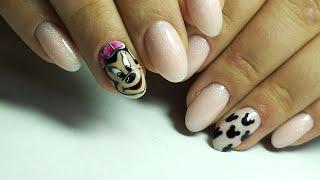 ❤ МИЛЕЙШИЙ дизайн ❤ РИСУЕМ МИННИ МАУС на ногтях ❤ БАЗА с ШИМЕРОМ ❤ Дизайн ногтей гель лаком ❤
