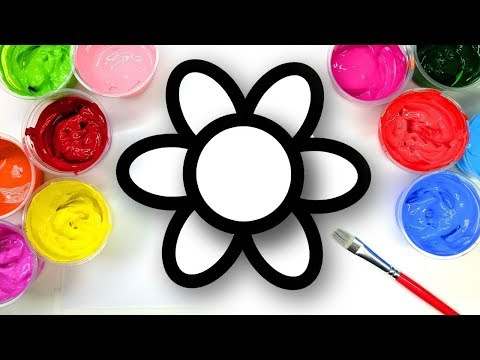 Coloring Simple Flower House Ball with Paint, Painting Pages for Kids