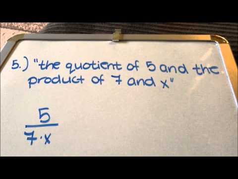 Translating Verbal Expressions into Mathematical Expressions