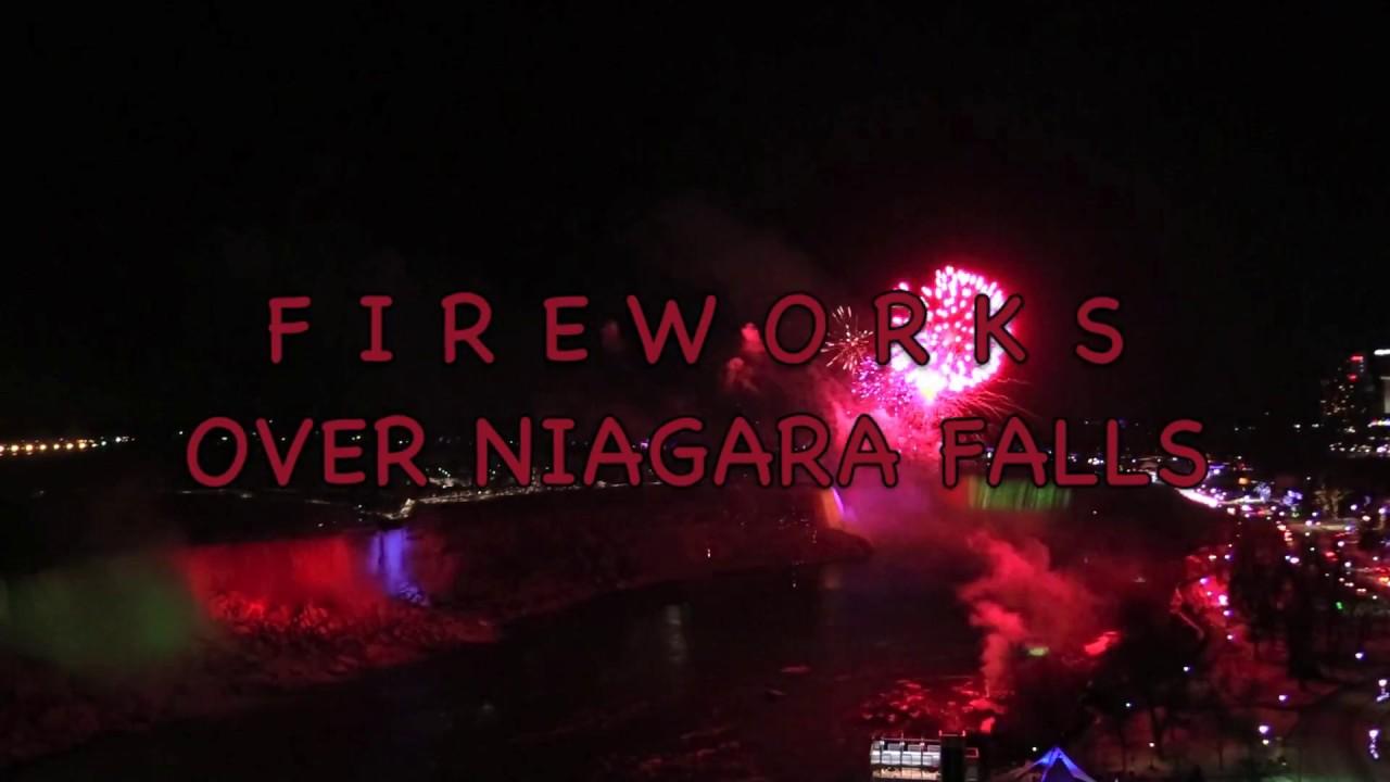2018 Happy New Year Fireworks Over Niagara Falls