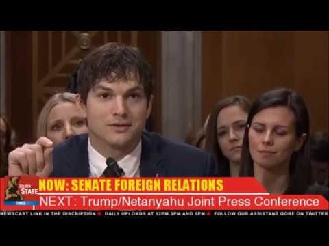 USA: 2-15-17. Actor Ashton Kutcher Addresses US Senate on Foreign Affairs & Human Trafficking.