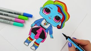 How To Draw My Little Pony Rainbow Dash LOL Doll | Tutorial For Kids