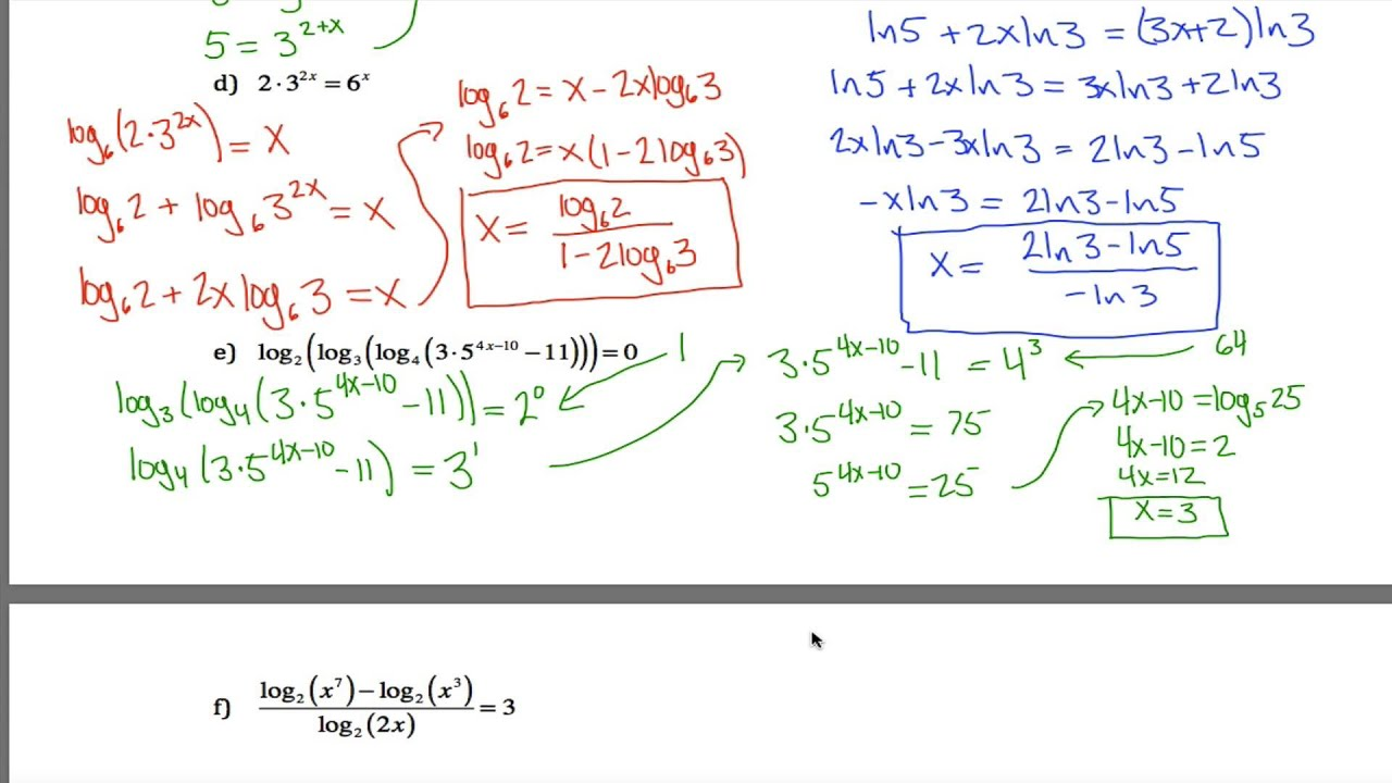 Log Equations Worksheet - YouTube