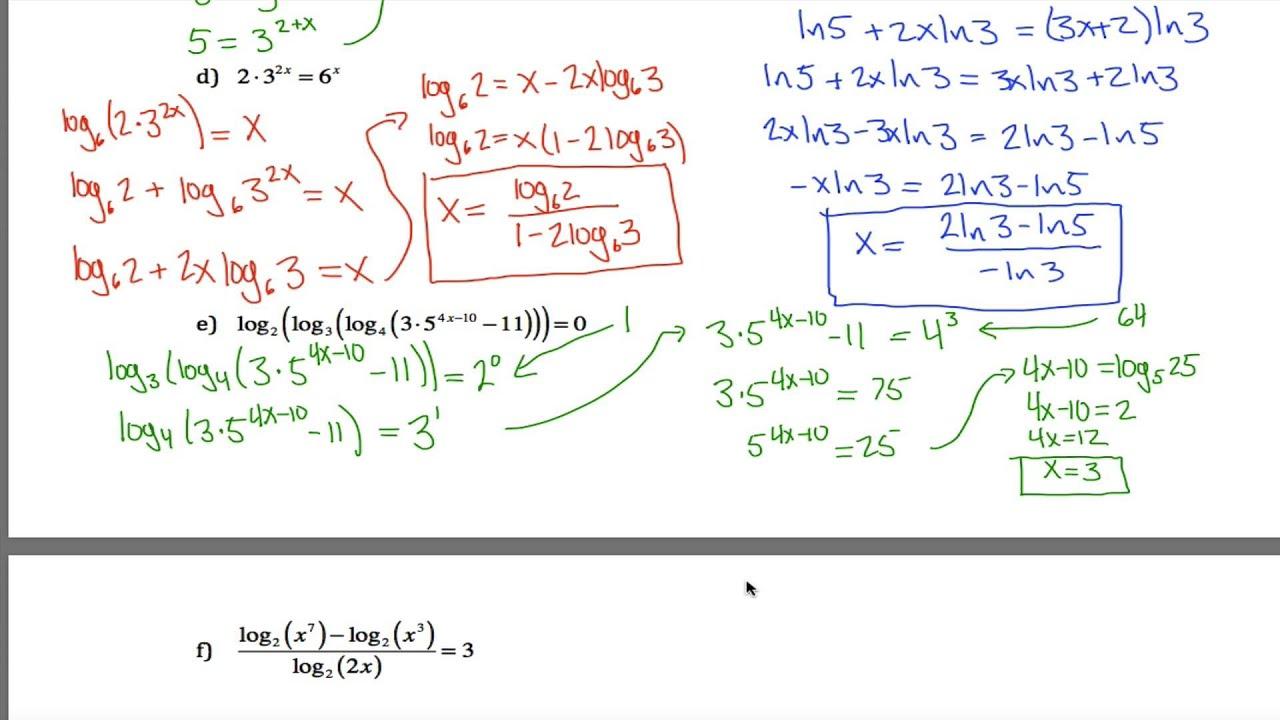 Log Equations Worksheet