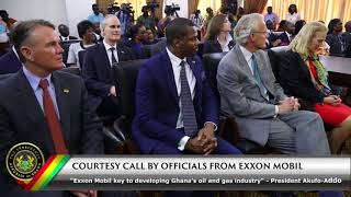 Officials of Exxon Mobil call on President Akufo-Addo, after the signing of a Petroleum Exploration