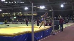 Korkeushypyn miesten Suomen ennätys: Osku Torro 233 cm (5.2.11)