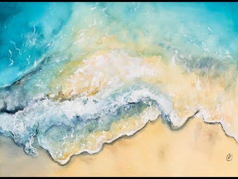 Ocean Waves in Watercolors Painting Demonstration