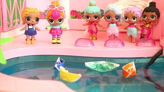 Boat Race at the Swimming Pool ! Toys and Dolls Fun with LOL Surprise Babies | SWTAD