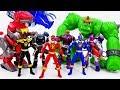 Power Rangers & Marvel Avengers Toys Pretend Play | Super Hero Zords vs Darkseid Giant VIllains