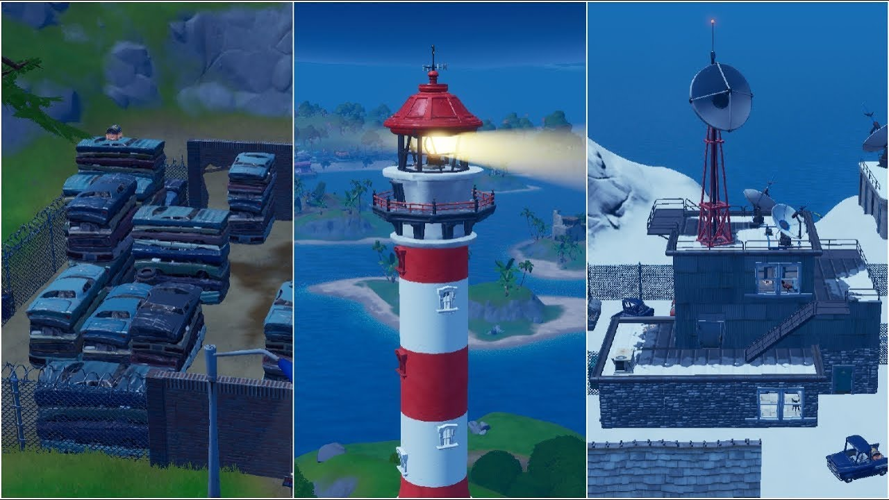 Dance At Compact Cars Lockies Lighthouse And A Weather Station Guide Fortnite Chapter 2