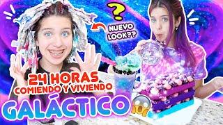 24 HORAS COMIENDO Y VIVIENDO EN UNA GALAXIA!! NUEVO LOOK!?! | Leyla Star 💫