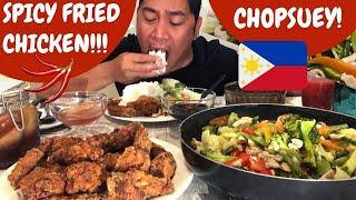 SPICY FRIED CHICKEN at CHOPSUEY!!! MUKBANG. Filipino Food.