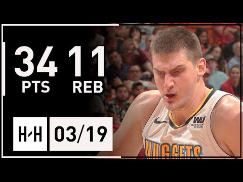 Nikola Jokic Full Highlights Nuggets vs Heat (2018.03.19) - 34 Points, 11 Reb