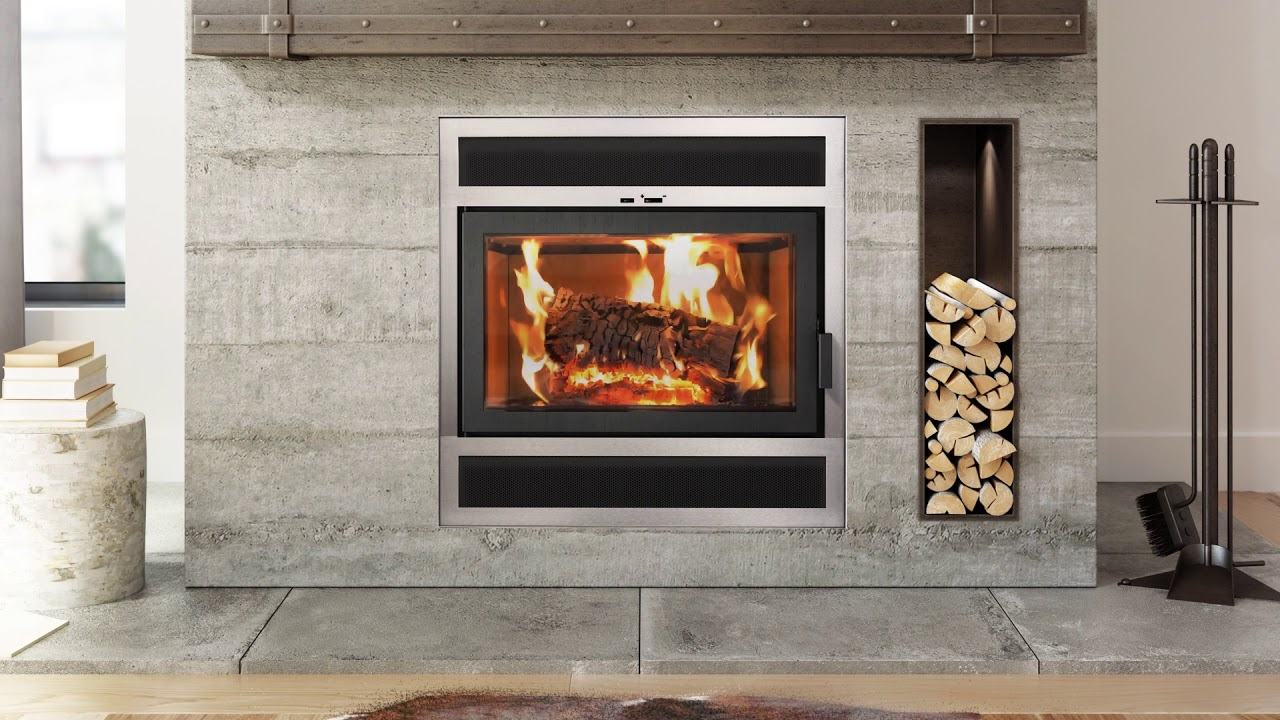 Ambiance Elegance 36 Wood Fireplace w/Silver Modern Front