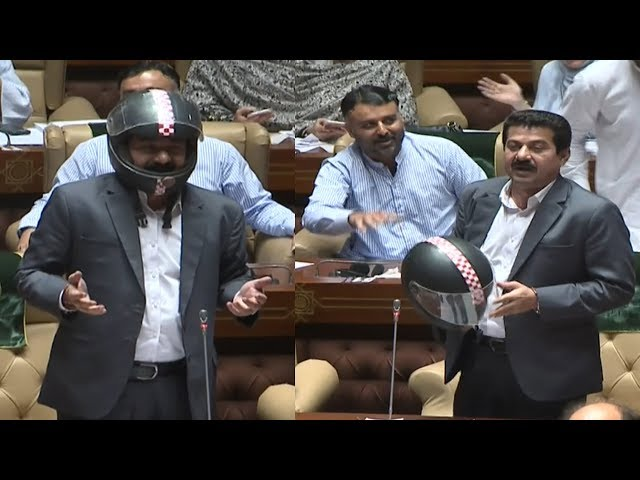 PTI member Saeed Afridi wears helmet in Sindh Assembly, Opposition chants 'Go Imran Go'