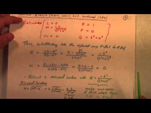 Differential Geometry: Lecture 16: calculation of K and H