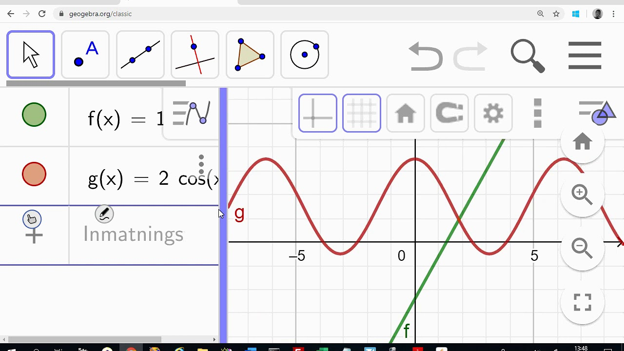 Matematik 4 - Arean mellan två grafer - Geogebra