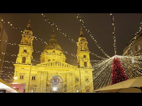 Budapest Christmas Market 2018 Hungary - Vorosmarty Square & St. Stephen's Basilica