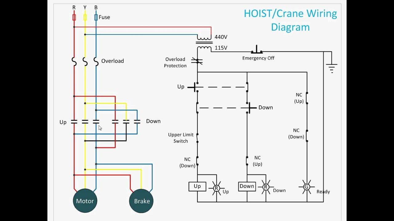 four pole contactor diagram hoist control circuit youtube  hoist control circuit youtube