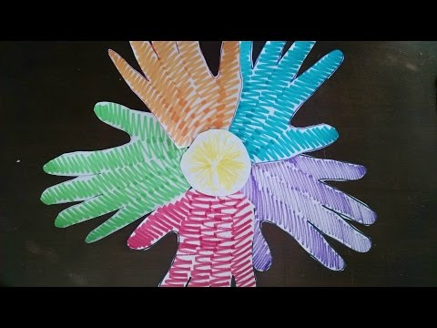 Easiest ARTS and CRAFTS for Kids - Easy Handprint Flower Wreath Project