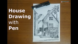 How to easily draw a Village House | Pen Sketching