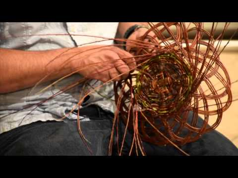 Carlos Herrera demonstrates Pueblo basketmaking