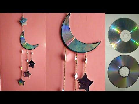 how to make moon🌜and star ⭐ waste CD ll DIY home decor ll Art ideas ll