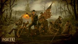 """Artist depicts President Trump crossing the """"swamp"""" in Washington, D.C."""