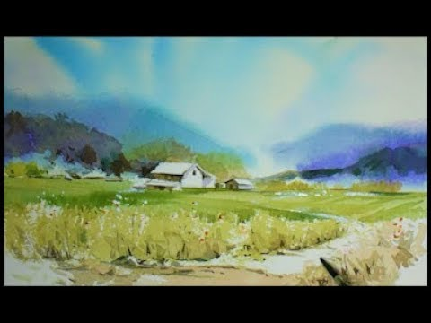 Watercolor Landscape Countryside Painting Demo   水彩画, Acuarela,수채화 풍경그리기  水彩風景