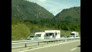 Approach to Tarascon-sur-Ariege in August is busy