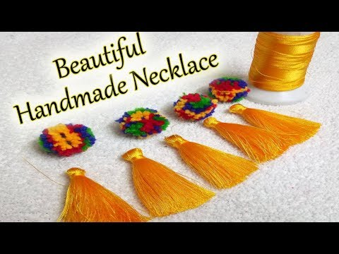 DIY | Handmade Necklace Ideas With Tassel & pompom | How To Make Silk Thread Necklace At Home