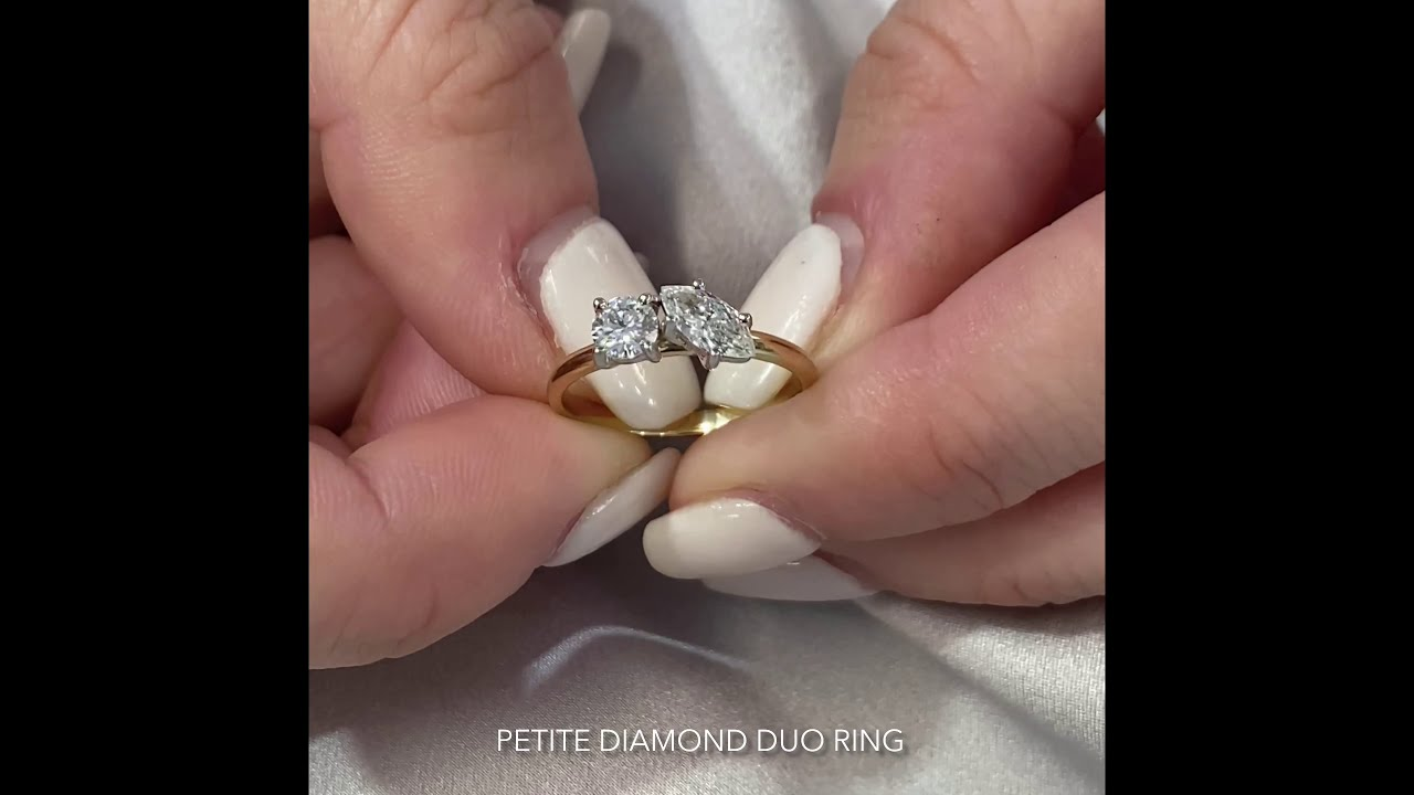 Marquise and Round Petite Diamond Duo Ring