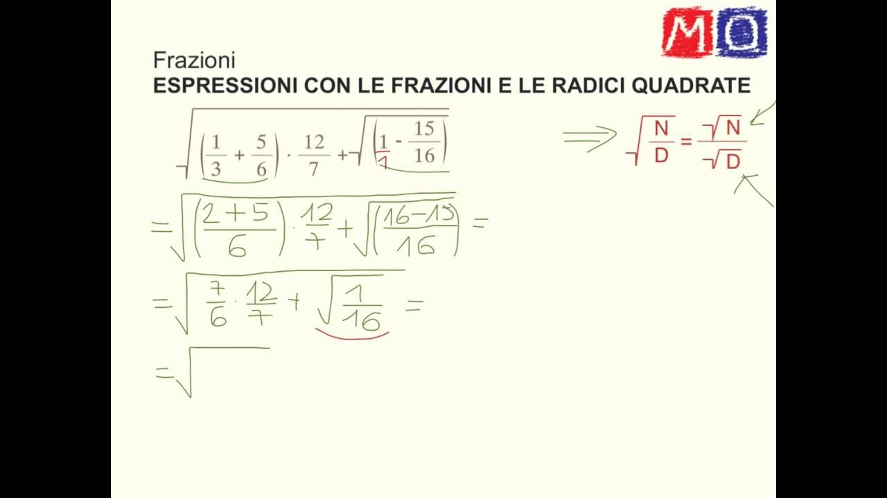 espressioni con radice quadrata e frazioni seconda media