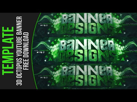 3D Octopus YouTube Banner Template | FezoDesigns | Free Download