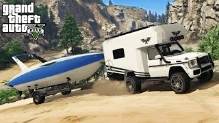 GTA 5 - OFF-ROAD 4x4 BOAT HAULING w/ Mercedes Benz G Wagon CAMPER! (GTA V PC Mods)