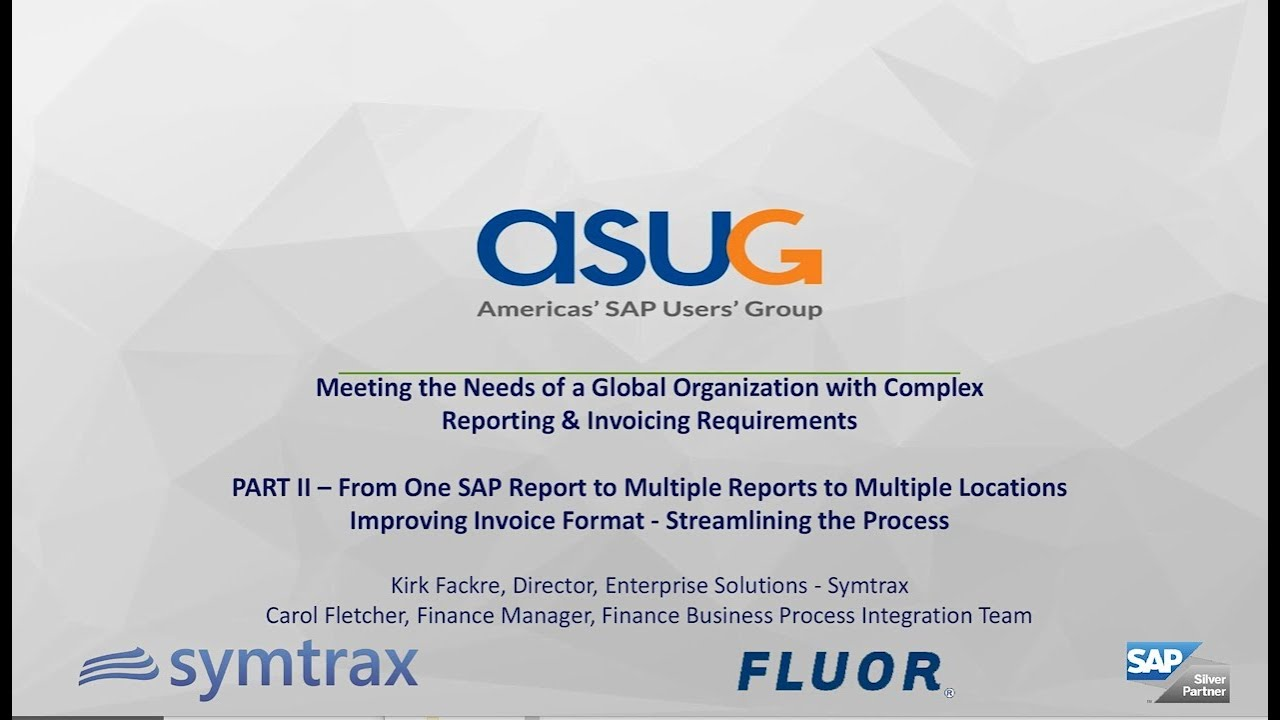 Part II - From One SAP Report to Multiple Reports to