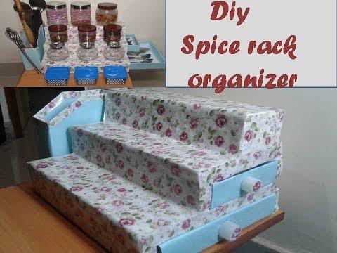 DIY spice organizer for kitchen- kitchen organization Idea/ multipurpose storage kitchen organizer