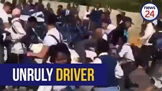 WATCH: Motorist ploughs through a group of pupils outside Johannesburg school