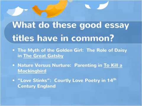 great titles for essays The trick to a great title is to find a happy balance between the all-too-forgettable and the truly over once we have finished writing, that this title still fits.
