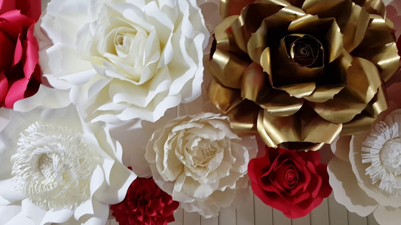 Paper Flower Backdrop Large Flower Arch In Red White And Gold For