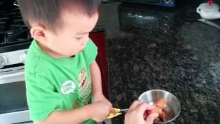 Step 2: cut sausages (cooking corn soup)