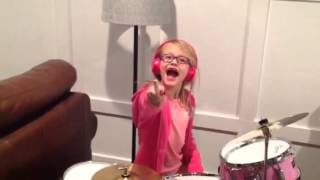 jameson with her new drum kit