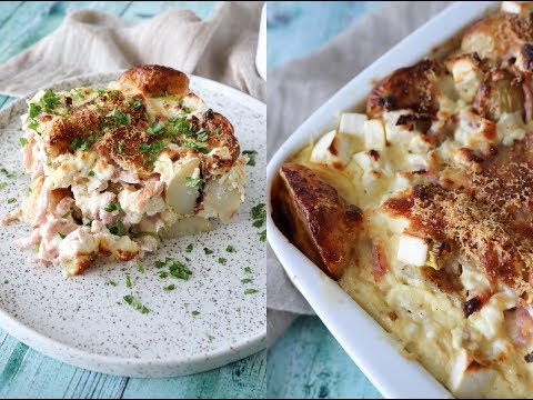 Creamy Potato Bake With Feta And Ham - Easy Dinner - By One Kitchen