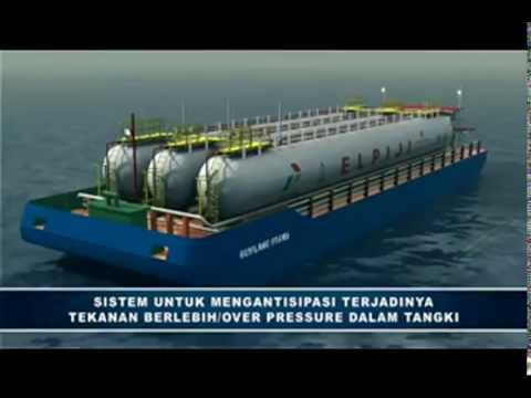 PT GAS 3D +HSE+Systems+LPG+Carrier+Barge+Animation HD