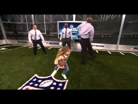 Sam gordon,9 year old speedster girl, tackles Marshall Faulk, and injures Warren Sapp on National TV