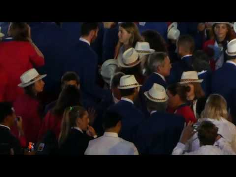 Rafael Nadal mingling among the athletes at the Rio 2016 Opening Ceremony