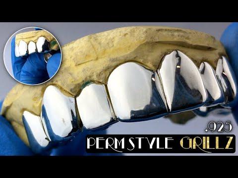 925 Sterling Silver Custom Grillz Perm Look Permanent Style Single Cap Teeth Grills