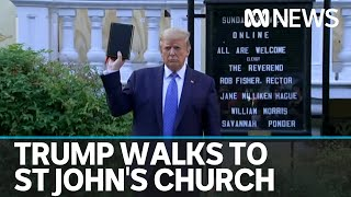 Trump walks to St John's church which had been damaged by rioters overnight   ABC News